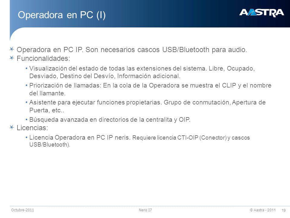 24/03/2017 Operadora en PC (I) Operadora en PC IP. Son necesarios cascos USB/Bluetooth para audio.