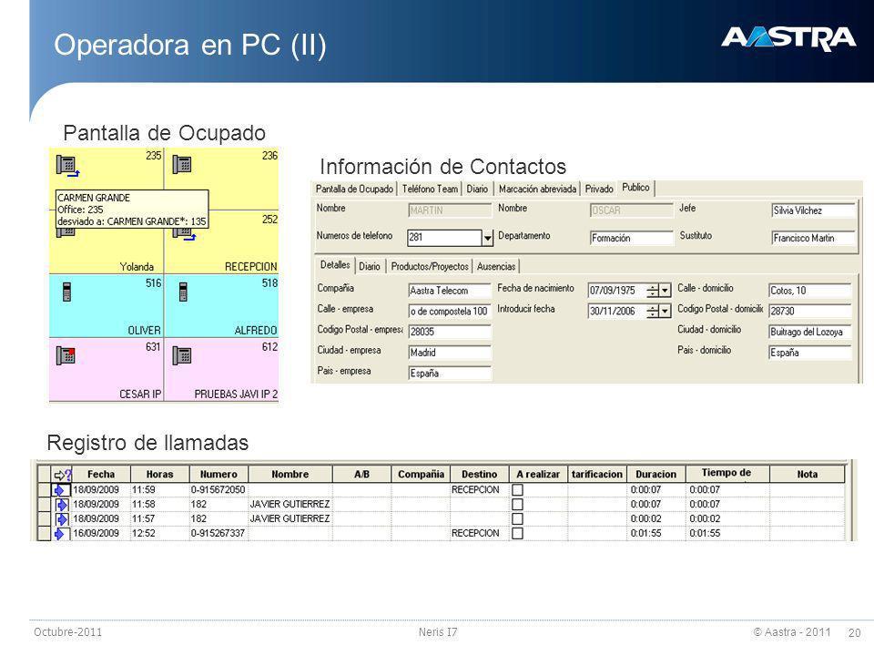Operadora en PC (II) Pantalla de Ocupado Información de Contactos