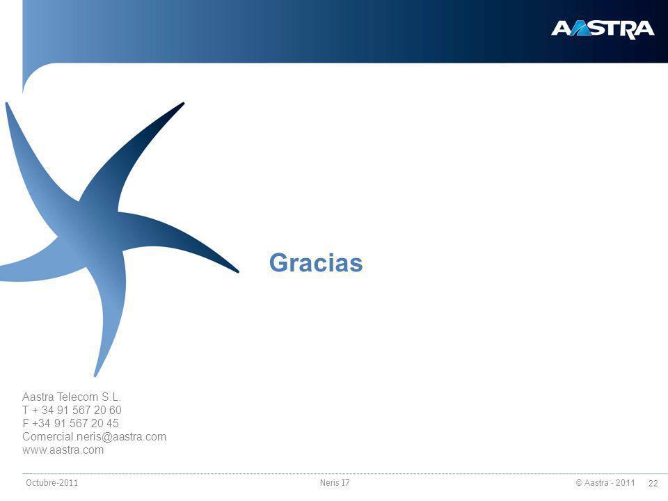 Gracias Aastra Telecom S.L. T + 34 91 567 20 60 F +34 91 567 20 45
