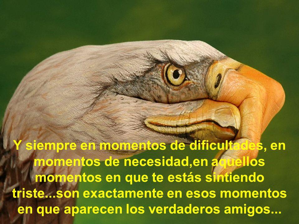 Y siempre en momentos de dificultades, en momentos de necesidad,en aquellos momentos en que te estás sintiendo triste...son exactamente en esos momentos en que aparecen los verdaderos amigos...