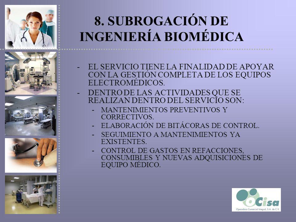 8. SUBROGACIÓN DE INGENIERÍA BIOMÉDICA