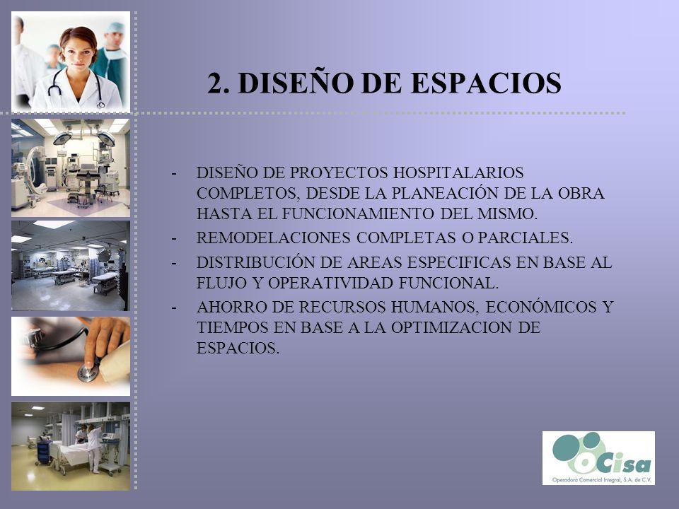 2. DISEÑO DE ESPACIOSDISEÑO DE PROYECTOS HOSPITALARIOS COMPLETOS, DESDE LA PLANEACIÓN DE LA OBRA HASTA EL FUNCIONAMIENTO DEL MISMO.