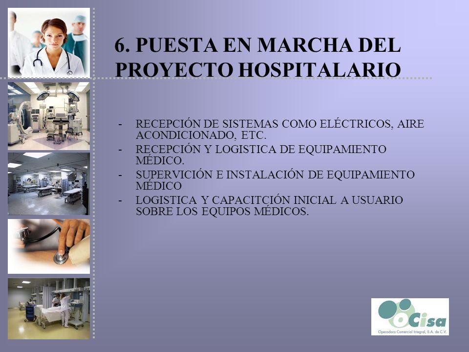 6. PUESTA EN MARCHA DEL PROYECTO HOSPITALARIO