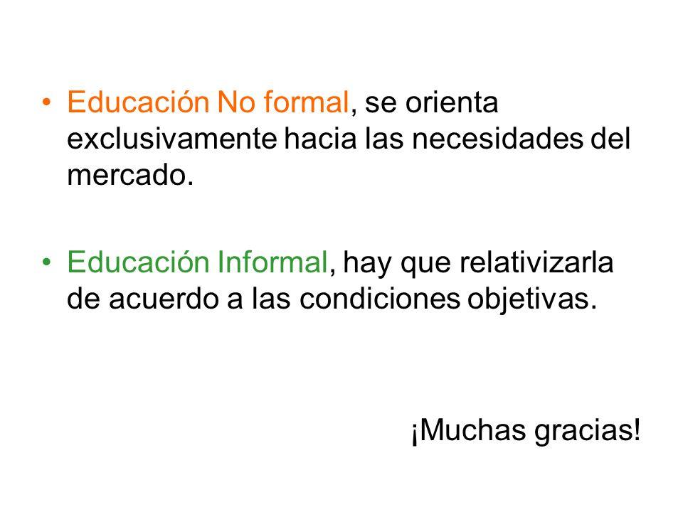 Educación No formal, se orienta exclusivamente hacia las necesidades del mercado.