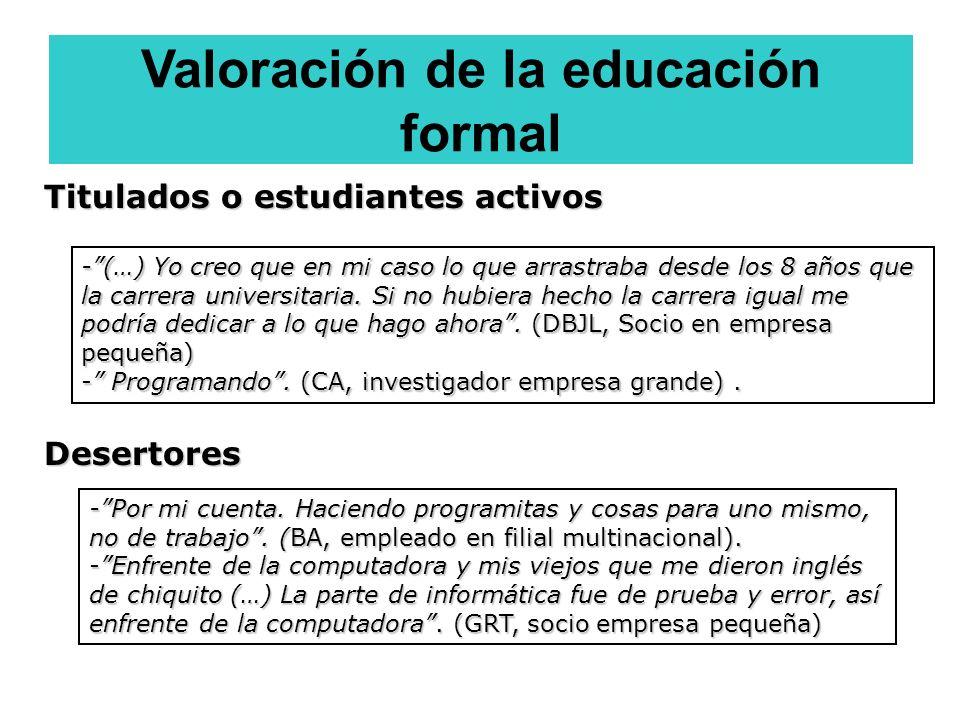 Valoración de la educación formal