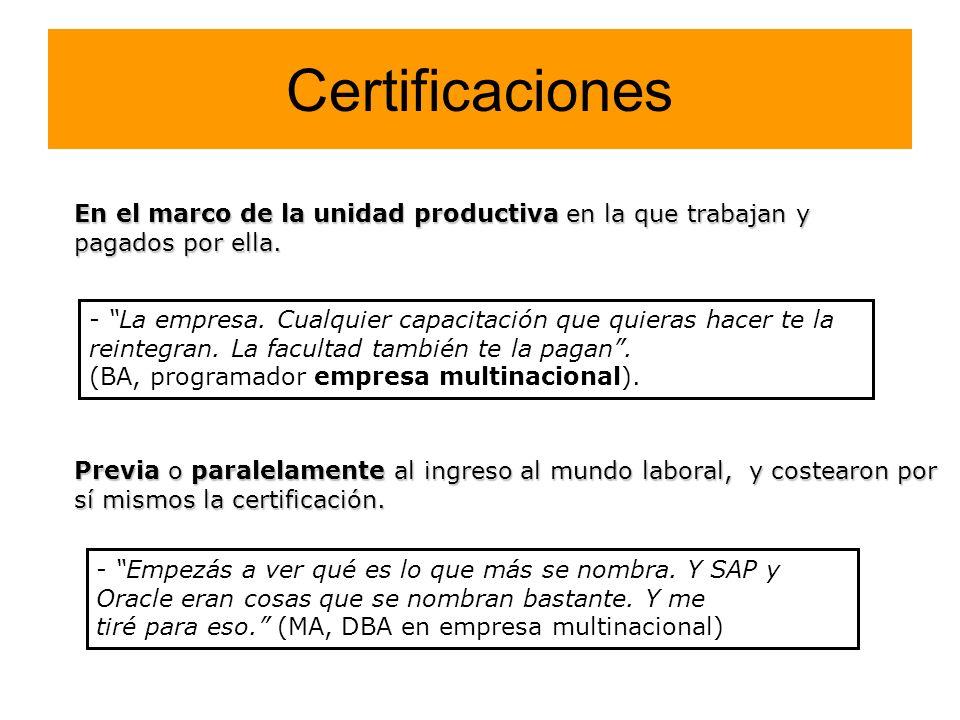 CertificacionesEn el marco de la unidad productiva en la que trabajan y pagados por ella.