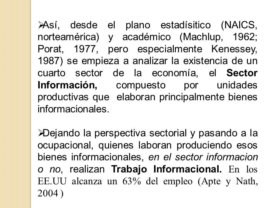 Así, desde el plano estadísitico (NAICS, norteamérica) y académico (Machlup, 1962; Porat, 1977, pero especialmente Kenessey, 1987) se empieza a analizar la existencia de un cuarto sector de la economía, el Sector Información, compuesto por unidades productivas que elaboran principalmente bienes informacionales.