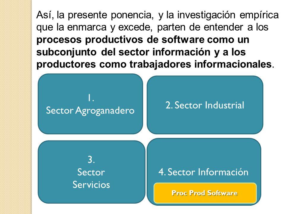 Así, la presente ponencia, y la investigación empírica que la enmarca y excede, parten de entender a los procesos productivos de software como un subconjunto del sector información y a los productores como trabajadores informacionales.