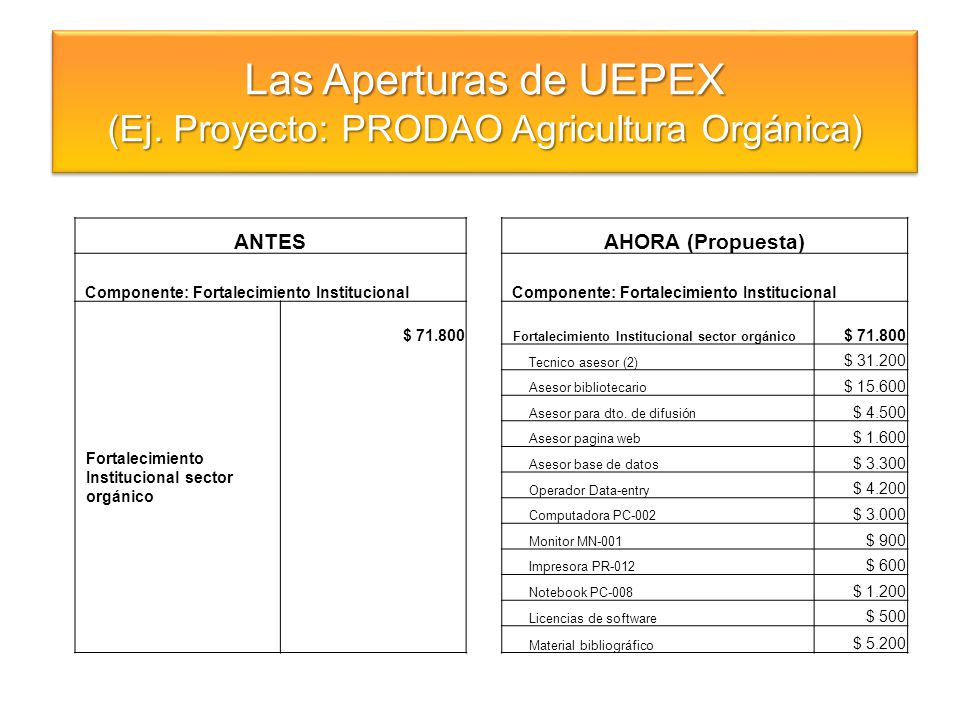 (Ej. Proyecto: PRODAO Agricultura Orgánica)