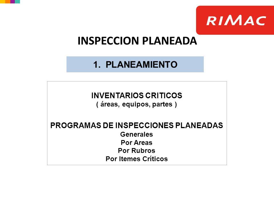 ( áreas, equipos, partes ) PROGRAMAS DE INSPECCIONES PLANEADAS