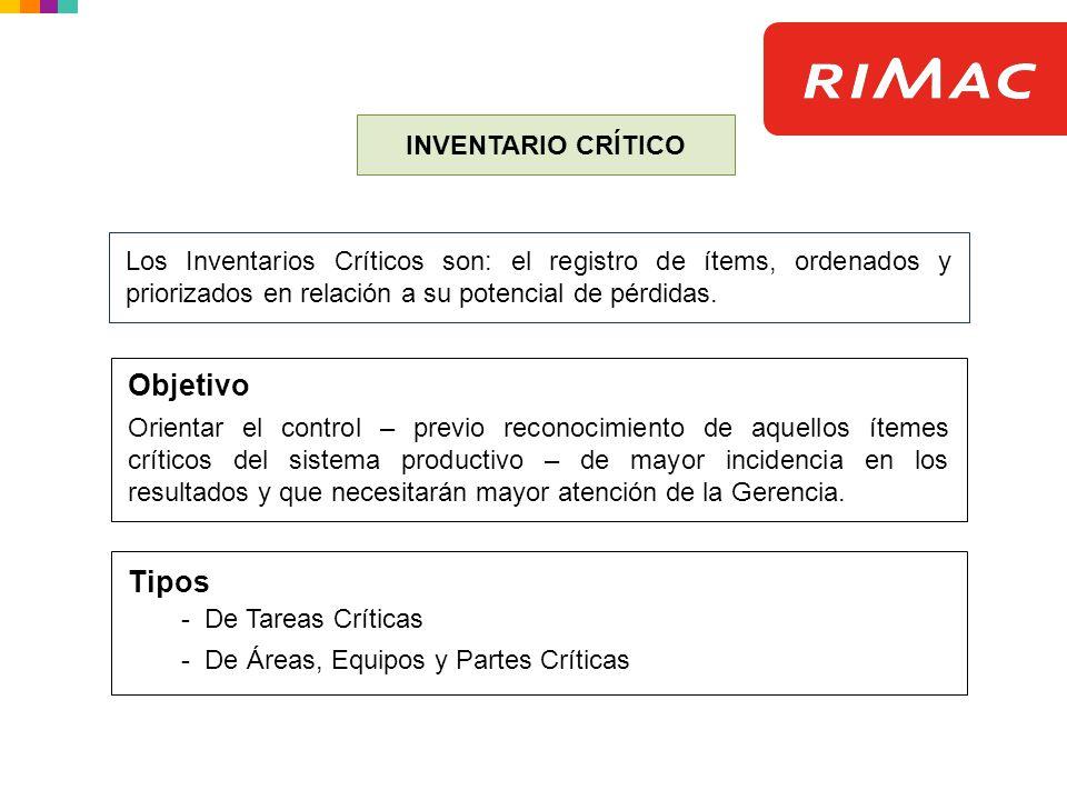 Objetivo Tipos - De Tareas Críticas INVENTARIO CRÍTICO