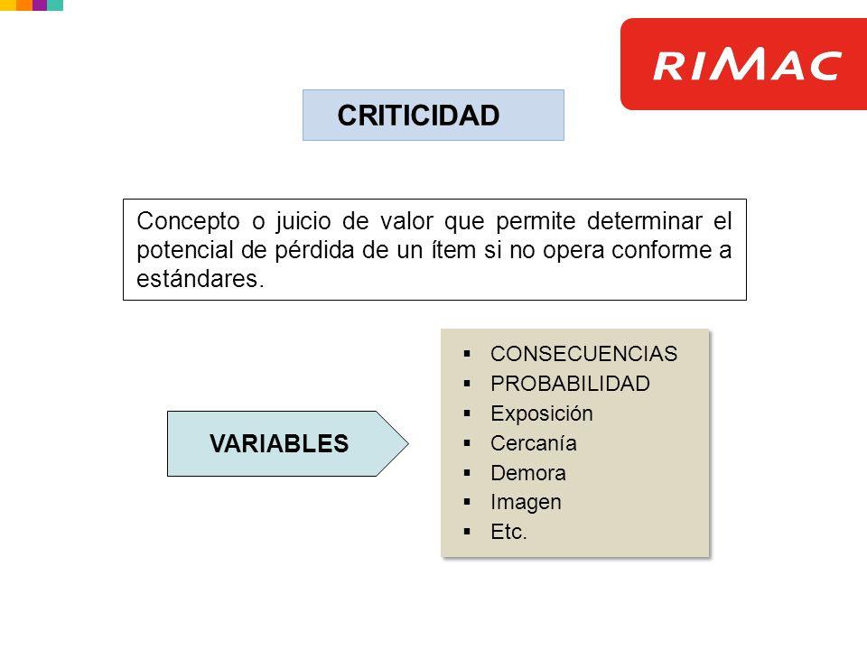 CRITICIDAD Concepto o juicio de valor que permite determinar el potencial de pérdida de un ítem si no opera conforme a estándares.