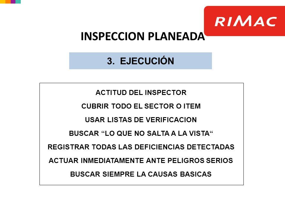 INSPECCION PLANEADA 3. EJECUCIÓN ACTITUD DEL INSPECTOR