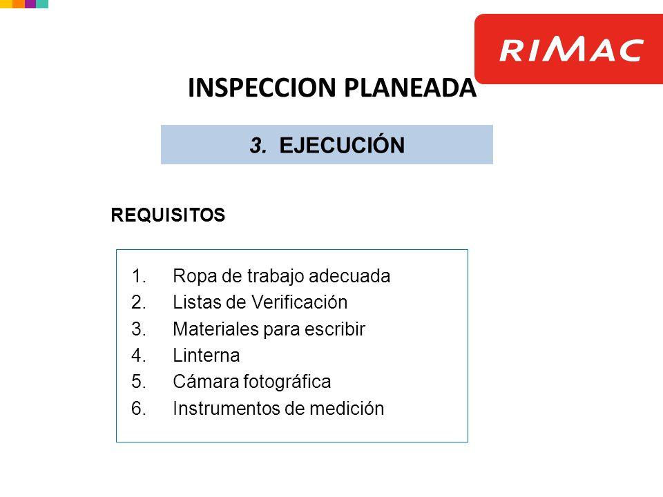 INSPECCION PLANEADA 3. EJECUCIÓN REQUISITOS Ropa de trabajo adecuada