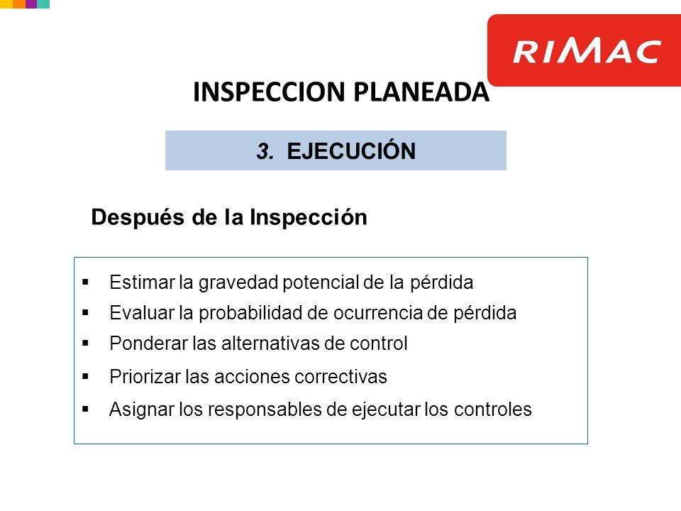 INSPECCION PLANEADA 3. EJECUCIÓN Después de la Inspección