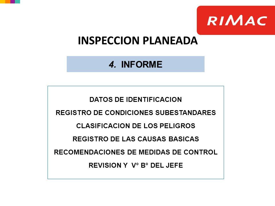 INSPECCION PLANEADA 4. INFORME DATOS DE IDENTIFICACION