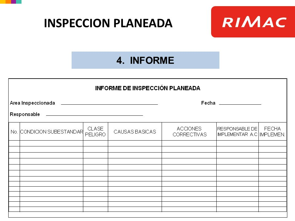INSPECCION PLANEADA 4. INFORME