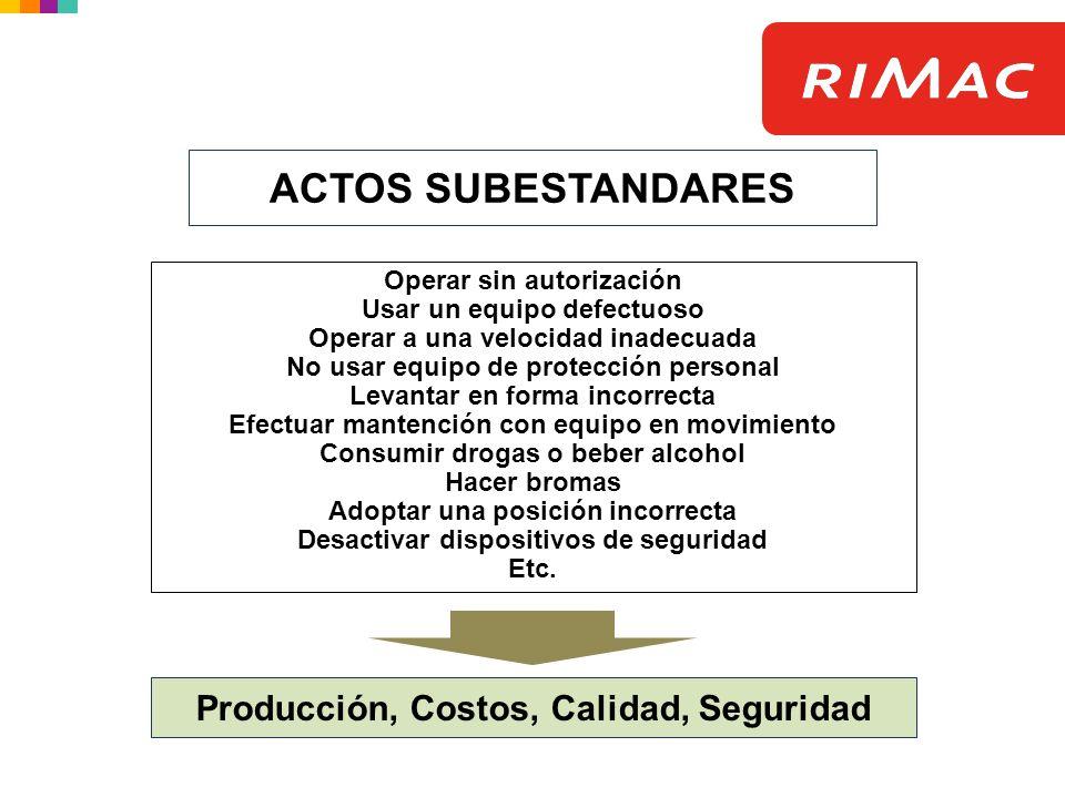 ACTOS SUBESTANDARES Producción, Costos, Calidad, Seguridad