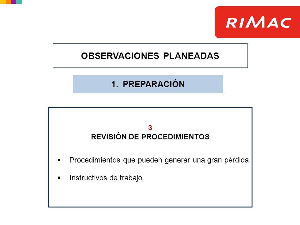 OBSERVACIONES PLANEADAS REVISIÓN DE PROCEDIMIENTOS