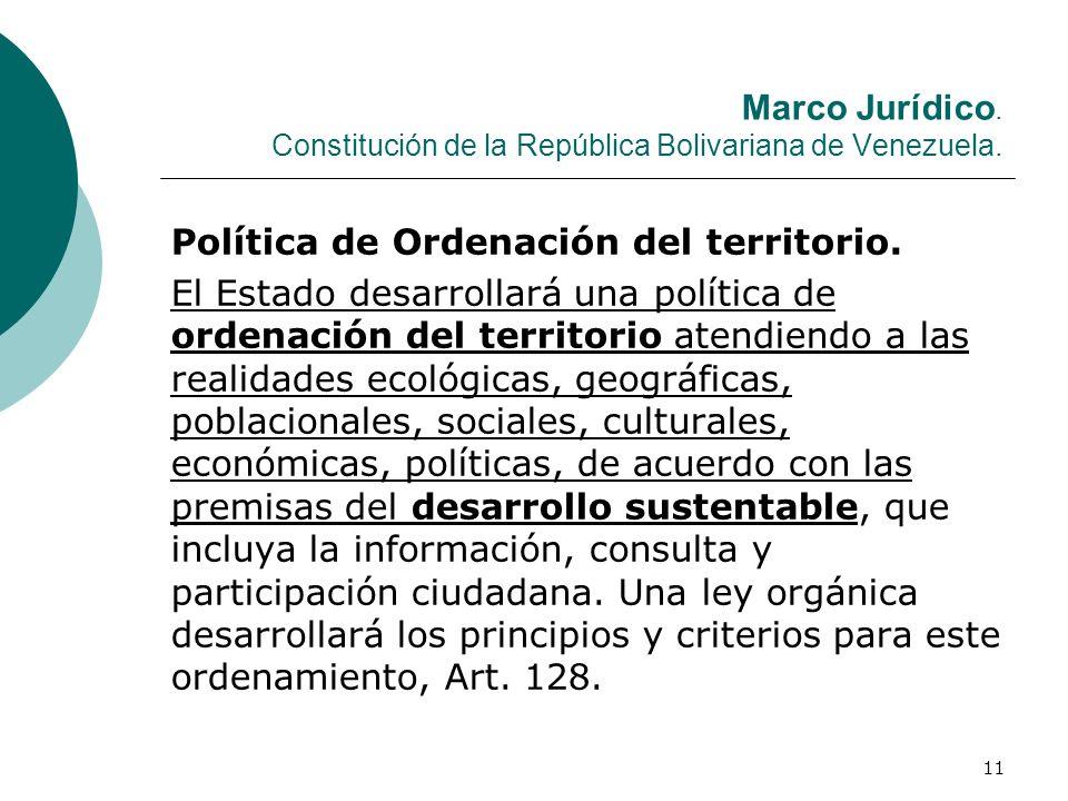 Marco Jurídico. Constitución de la República Bolivariana de Venezuela.