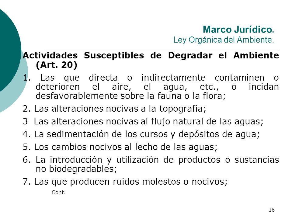 Marco Jurídico. Ley Orgánica del Ambiente.