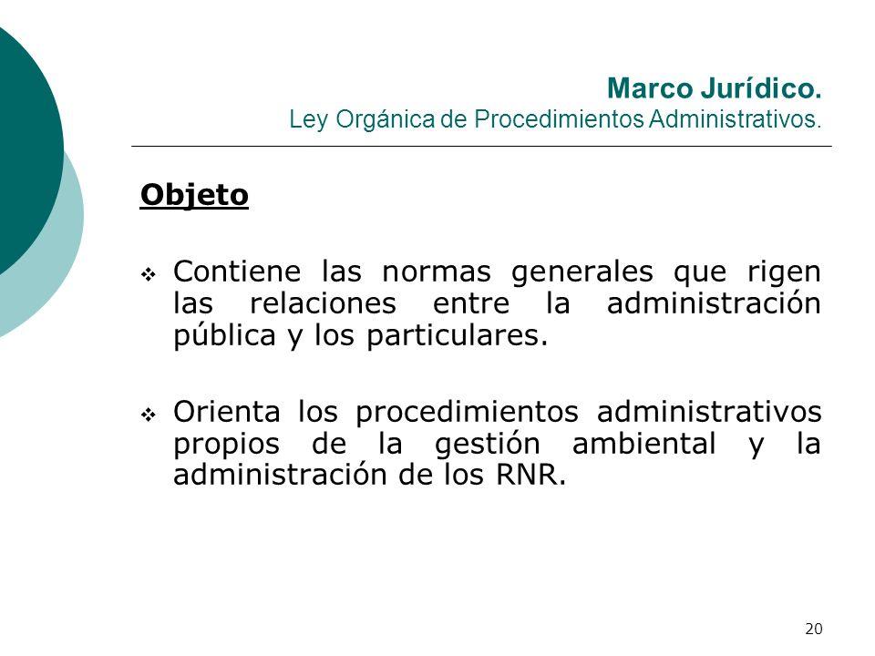 Marco Jurídico. Ley Orgánica de Procedimientos Administrativos.