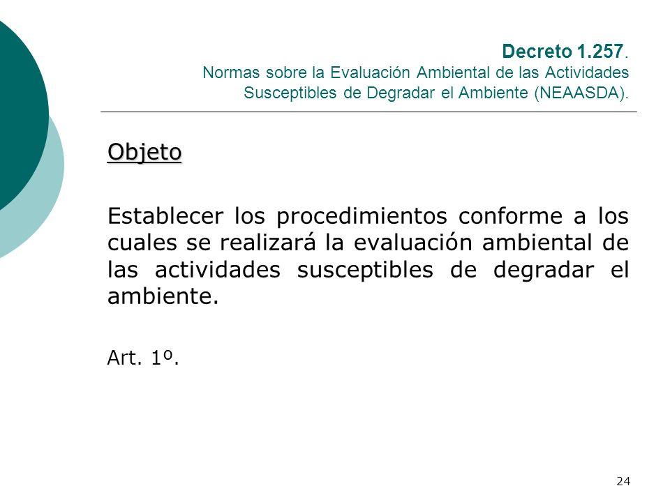 Decreto 1.257. Normas sobre la Evaluación Ambiental de las Actividades Susceptibles de Degradar el Ambiente (NEAASDA).