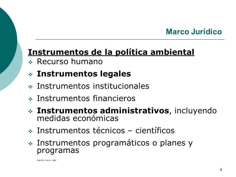 Instrumentos de la política ambiental Recurso humano