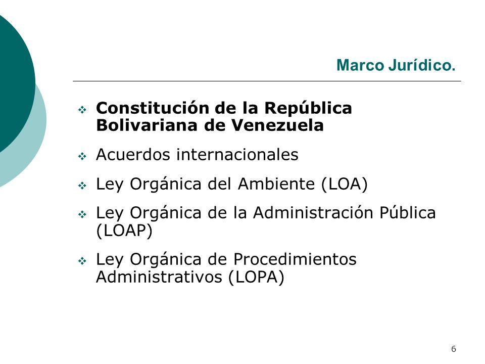 Marco Jurídico. Constitución de la República Bolivariana de Venezuela. Acuerdos internacionales. Ley Orgánica del Ambiente (LOA)