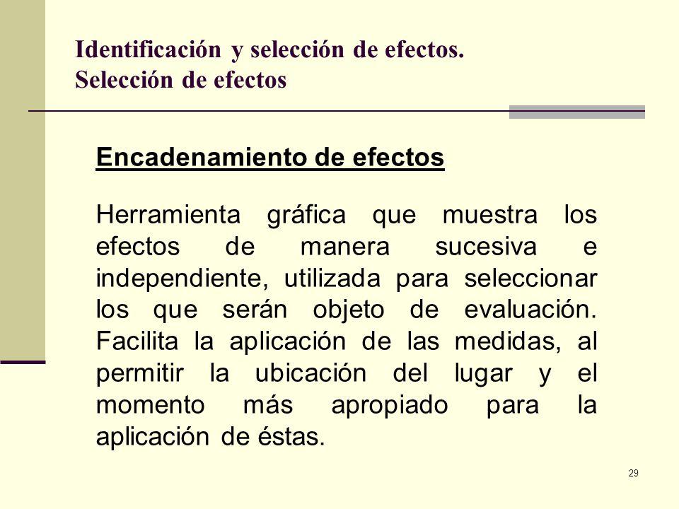 Identificación y selección de efectos. Selección de efectos