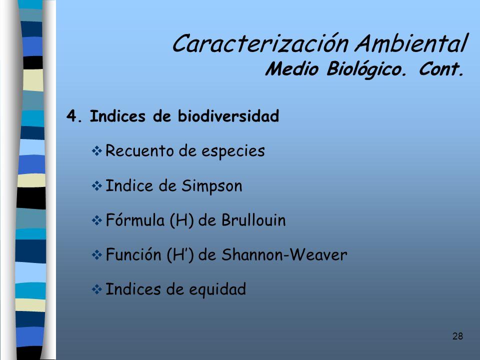 Caracterización Ambiental Medio Biológico. Cont.
