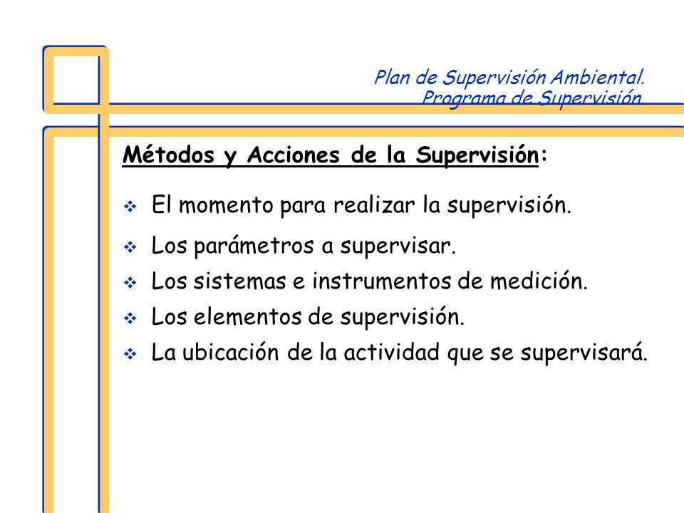 Plan de Supervisión Ambiental. Programa de Supervisión.