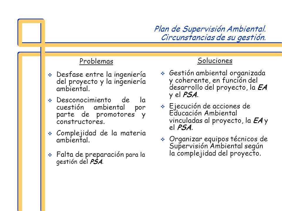 Plan de Supervisión Ambiental. Circunstancias de su gestión.