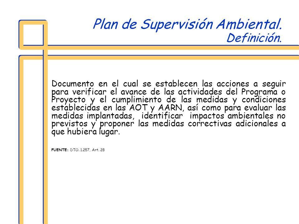 Plan de Supervisión Ambiental. Definición.