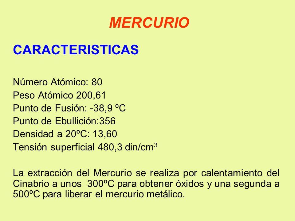 MERCURIO CARACTERISTICAS Número Atómico: 80 Peso Atómico 200,61