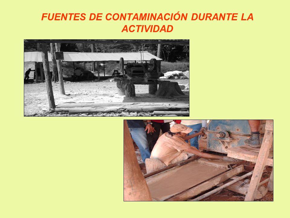 FUENTES DE CONTAMINACIÓN DURANTE LA ACTIVIDAD