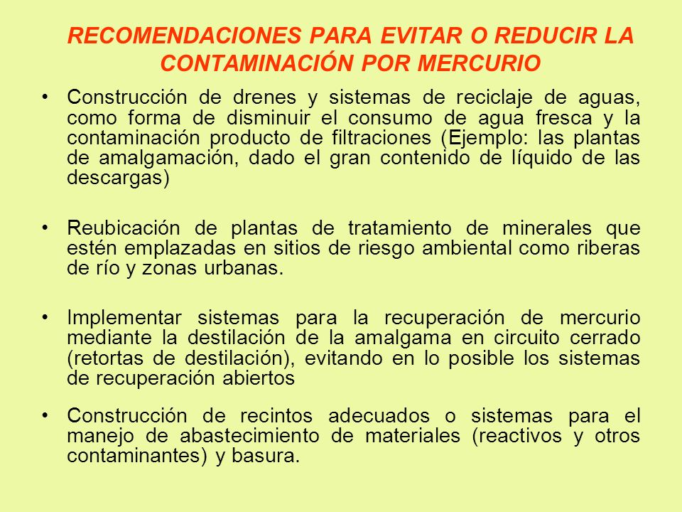 RECOMENDACIONES PARA EVITAR O REDUCIR LA CONTAMINACIÓN POR MERCURIO