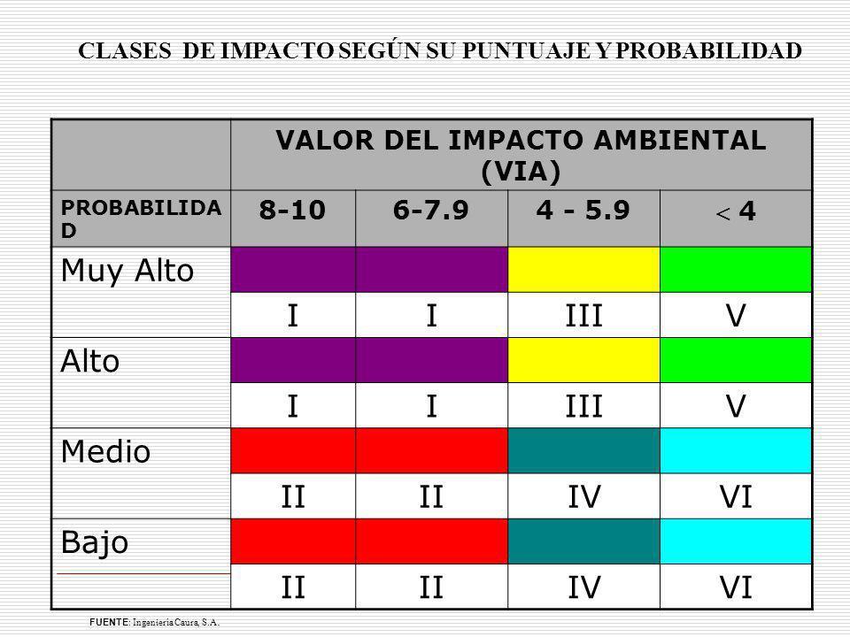 VALOR DEL IMPACTO AMBIENTAL (VIA)