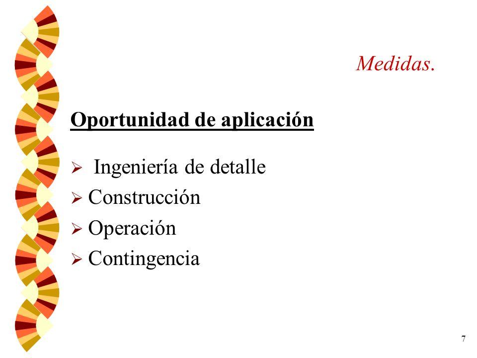 Medidas. Oportunidad de aplicación Ingeniería de detalle Construcción Operación Contingencia