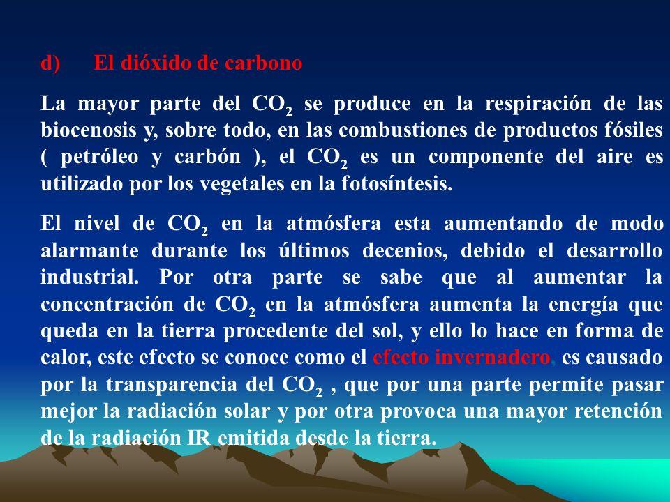 d) El dióxido de carbono