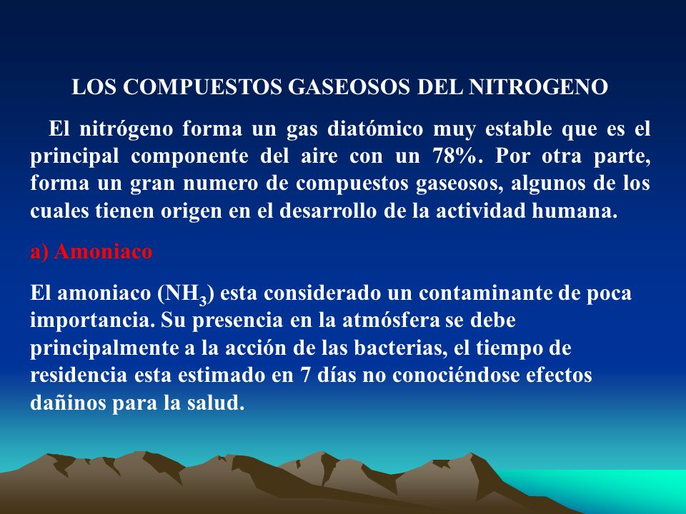 LOS COMPUESTOS GASEOSOS DEL NITROGENO