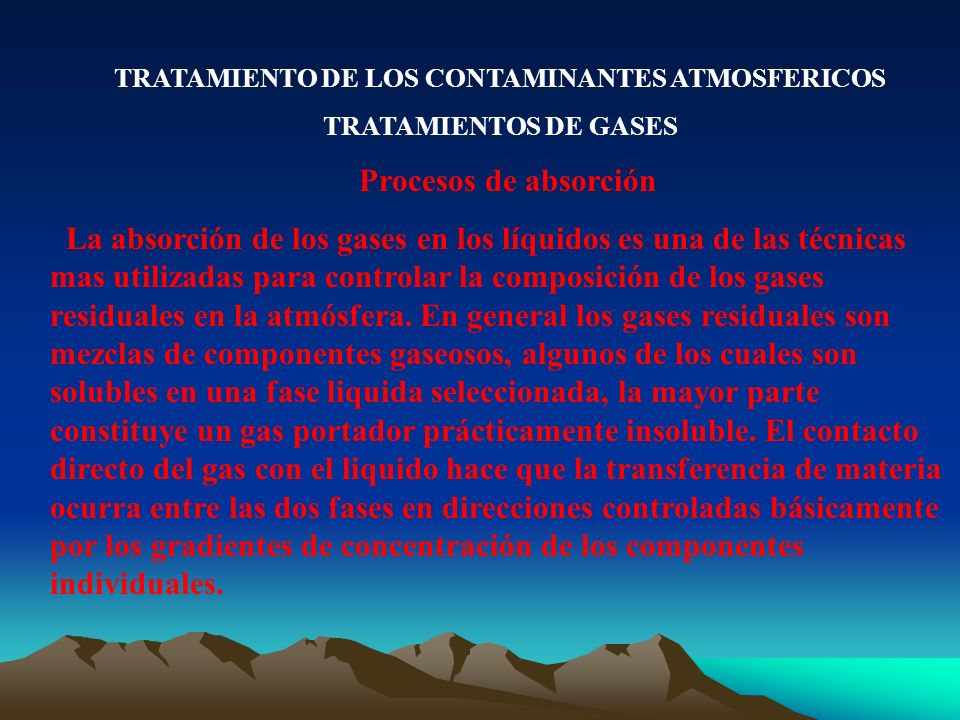 TRATAMIENTO DE LOS CONTAMINANTES ATMOSFERICOS