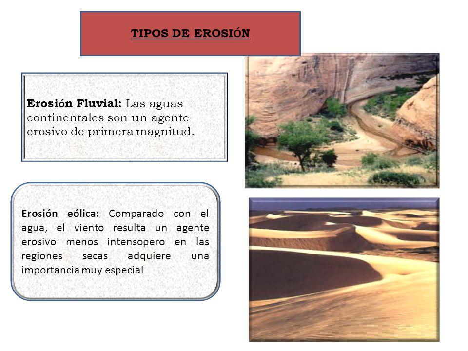 TIPOS DE EROSIÓN Erosión Fluvial: Las aguas continentales son un agente erosivo de primera magnitud.