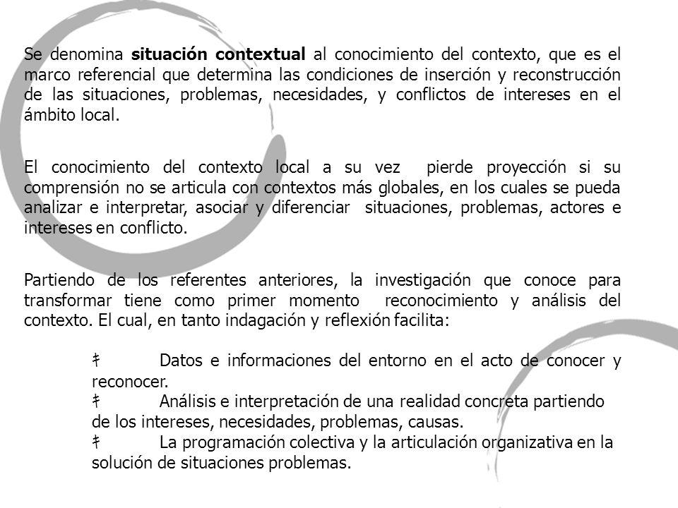 Se denomina situación contextual al conocimiento del contexto, que es el marco referencial que determina las condiciones de inserción y reconstrucción de las situaciones, problemas, necesidades, y conflictos de intereses en el ámbito local.