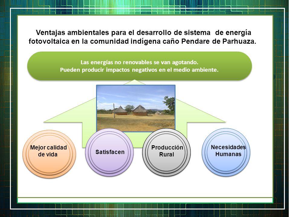 Ventajas ambientales para el desarrollo de sistema de energía fotovoltaica en la comunidad indígena caño Pendare de Parhuaza.