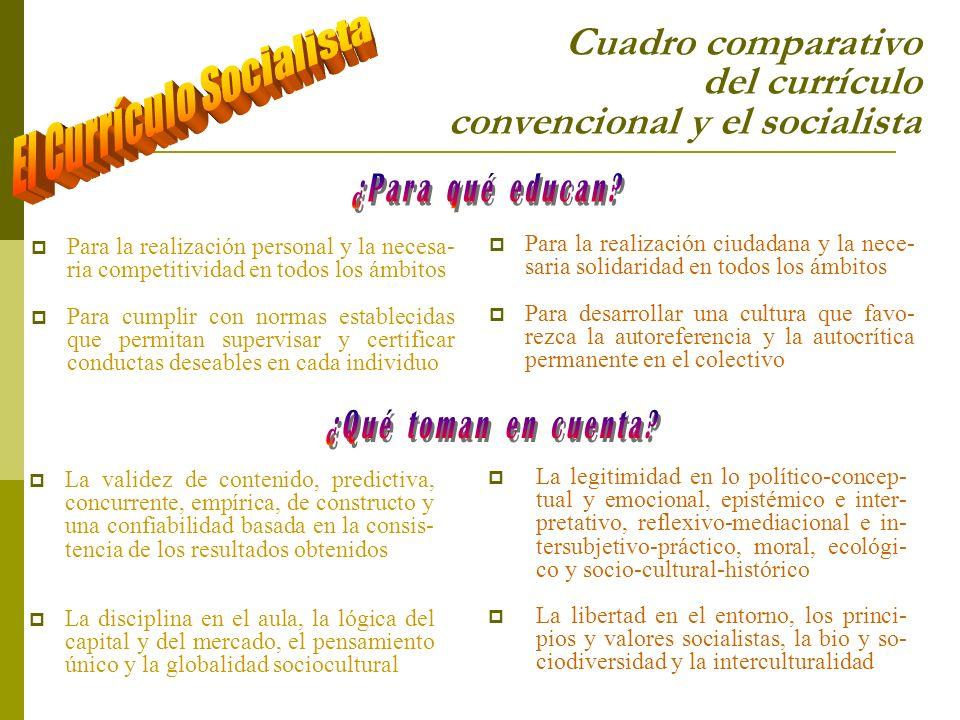 Cuadro comparativo del currículo convencional y el socialista