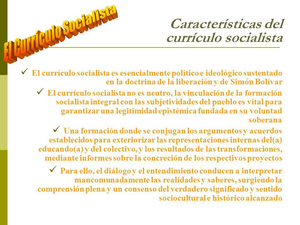 Características del currículo socialista