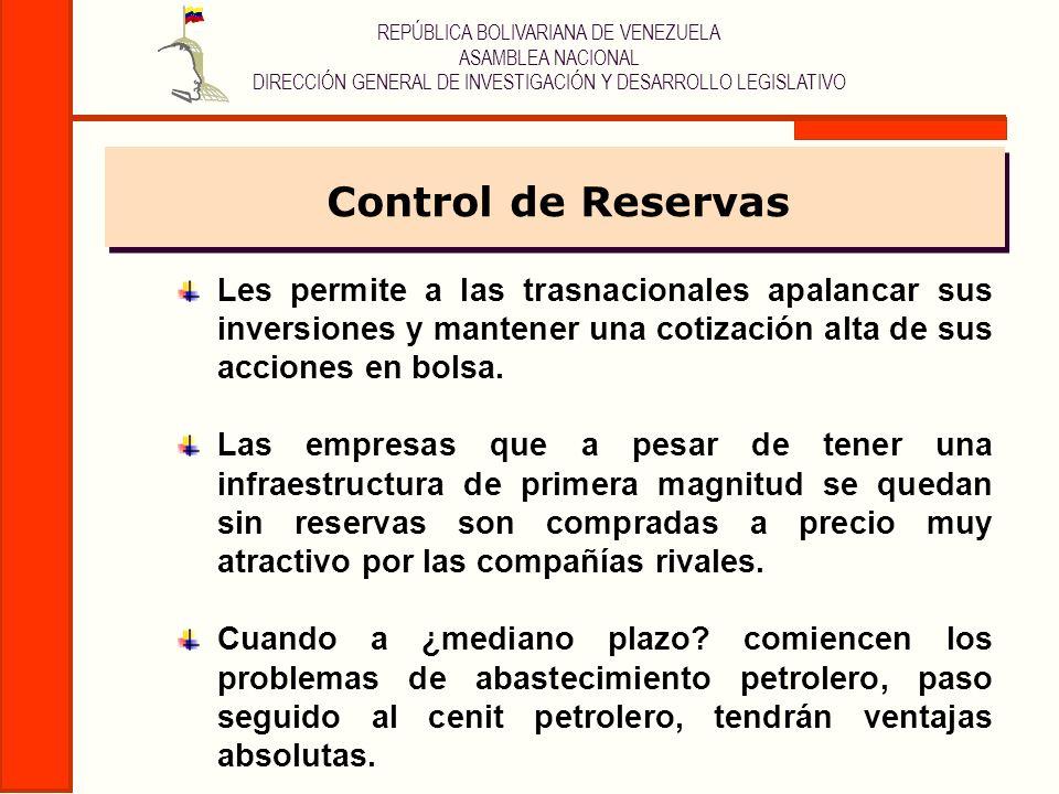 Control de ReservasLes permite a las trasnacionales apalancar sus inversiones y mantener una cotización alta de sus acciones en bolsa.