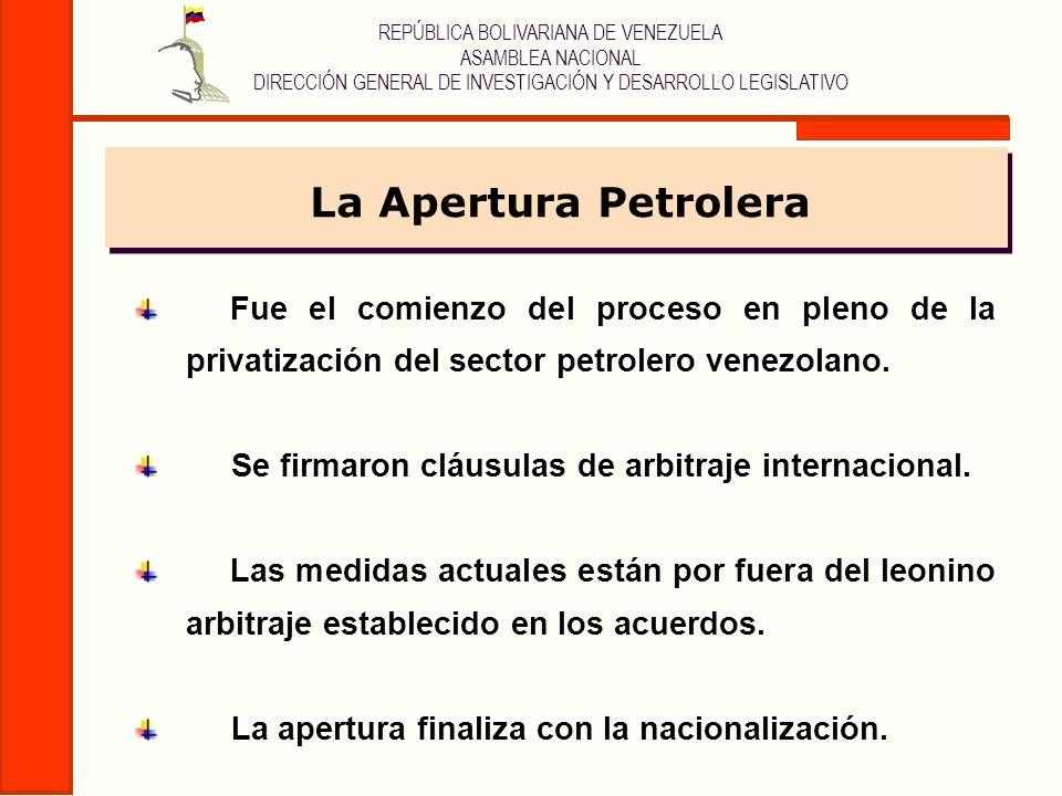 La Apertura PetroleraFue el comienzo del proceso en pleno de la privatización del sector petrolero venezolano.