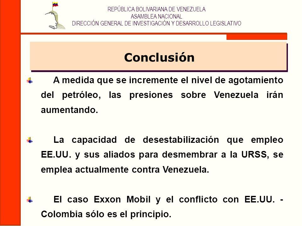 ConclusiónA medida que se incremente el nivel de agotamiento del petróleo, las presiones sobre Venezuela irán aumentando.